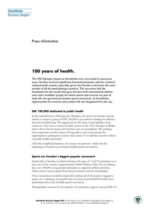 Olympic anniversary: 100 years of health