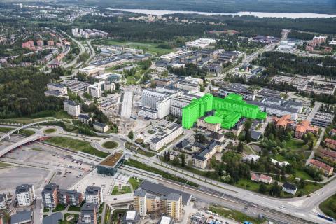 Den nya helikopterplattan vid universitetssjukhuset i Umeå