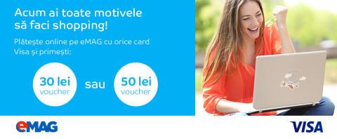 """Vizual campanie """"eMAG îţi dă motive de shopping cu cardul tău Visa!"""""""