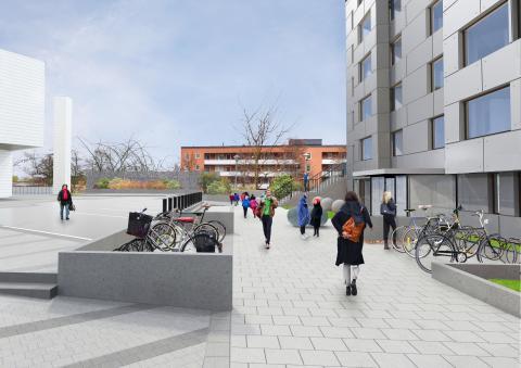 Kvarnberget 9 i Rinkeby, torgperspektiv