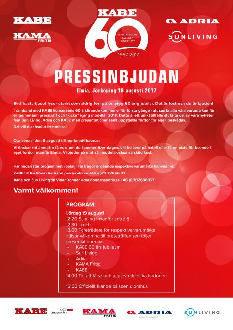 Adria Pressinbjudan 19 augusti på Elmia, Jönköping