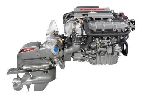 Hi-res image - YANMAR - YANMAR 4LV sterndrive marine diesel engine with the YANMAR ZT370