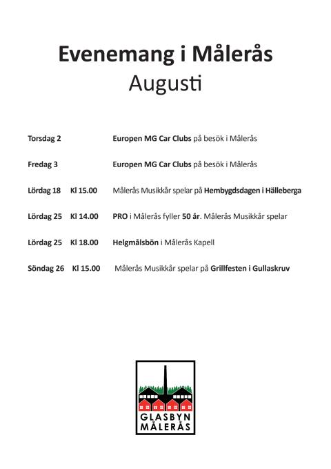 Målerås Evenemangskalender för augusti