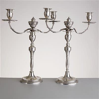 2187. Kandelabrar 1 par silver London 1778 Utrop: 100 000-120 000 SEK
