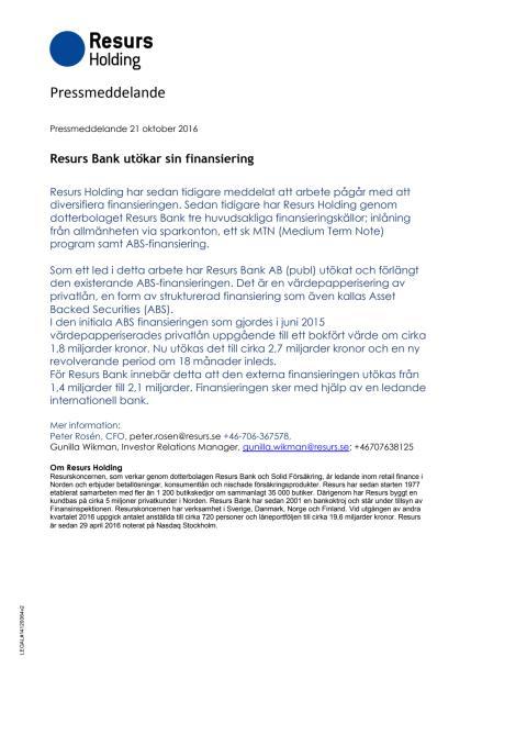 Resurs Bank utökar sin finansiering