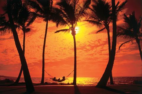 Magisk solnedgång över Hawaii