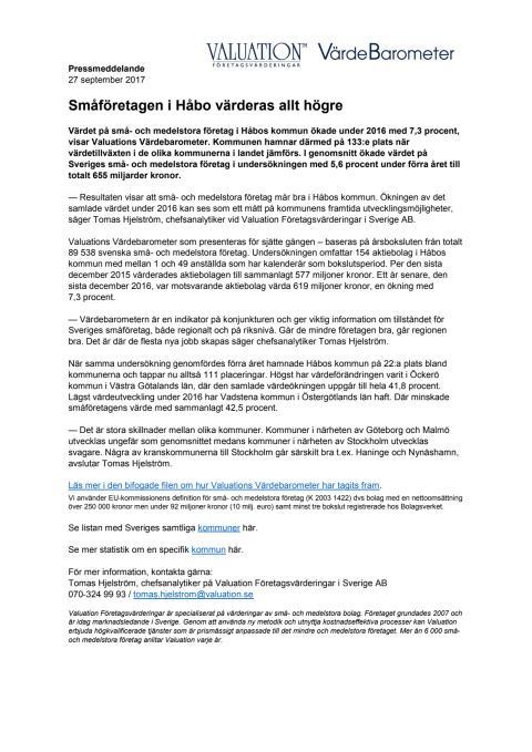 Värdebarometern 2017 Håbos kommun
