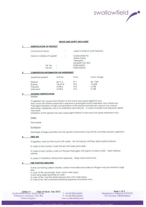 label.m  MSDS Extreme Hold Hairspray