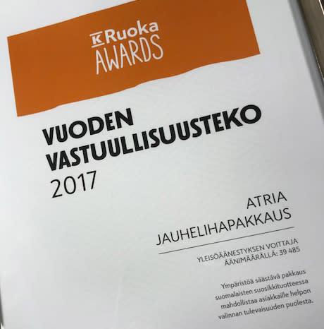 Atrian uusi jauhelihapakkaus Vuoden vastuullisuusteko 2017