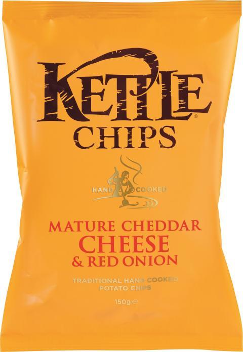 Kettle chips cheddarost & rödlök