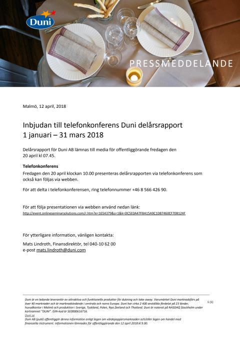 Inbjudan till telefonkonferens Duni delårsrapport 1 januari – 31 mars 2018
