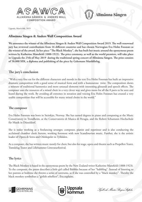 Press Release English ASAWCA 2019 Winner