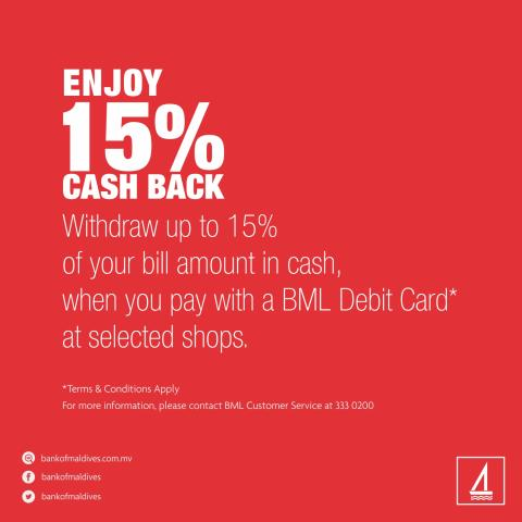 ​BML launches free Cash Back service for BML Debit Cards