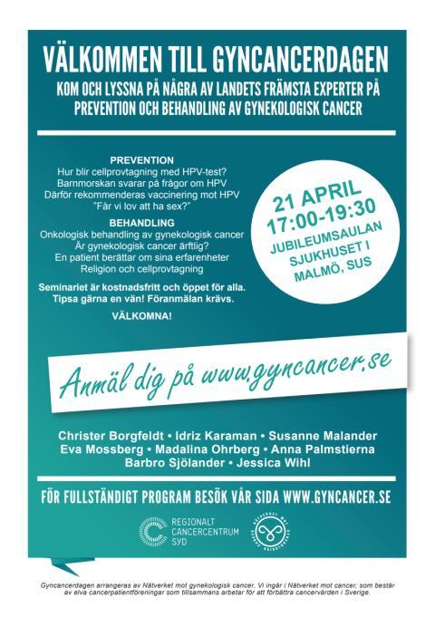 Gyncancerdagen 21 april 2016 i Malmö