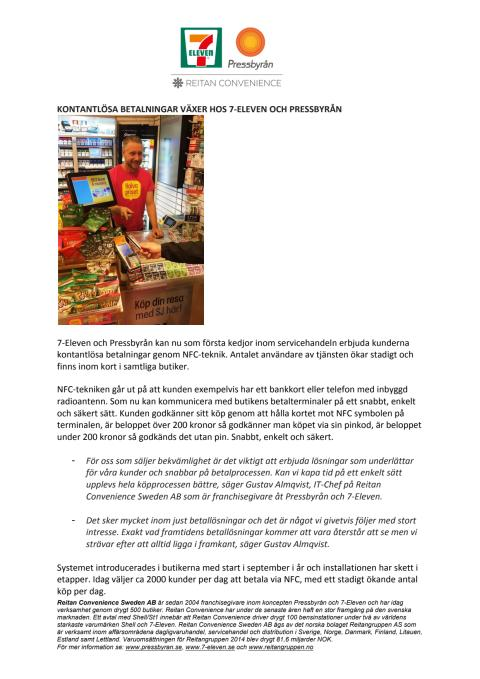 Kontantlösa betalningar växer hos 7-Eleven och Pressbyrån
