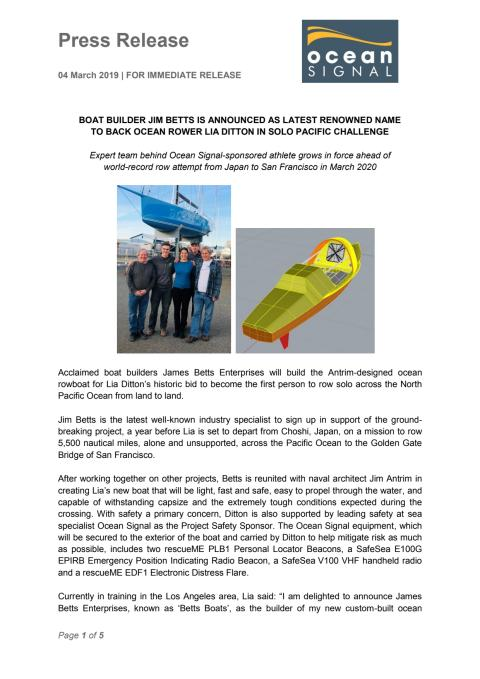 Boat Builder Jim Betts is Announced as Latest Renowned Name to Back Ocean Rower Lia Ditton in Solo Pacific Challenge