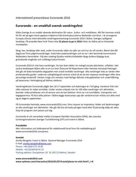 Eurorando - en smakfull svensk vandringsfest