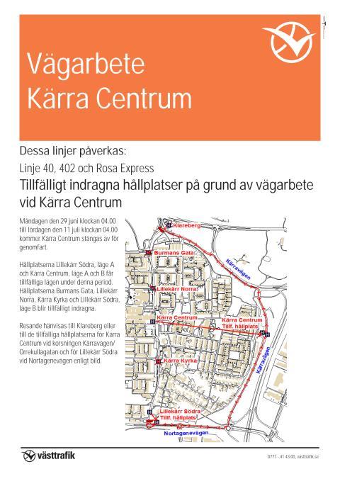 Karta tillfälliga hållplatser Kärra Centrum