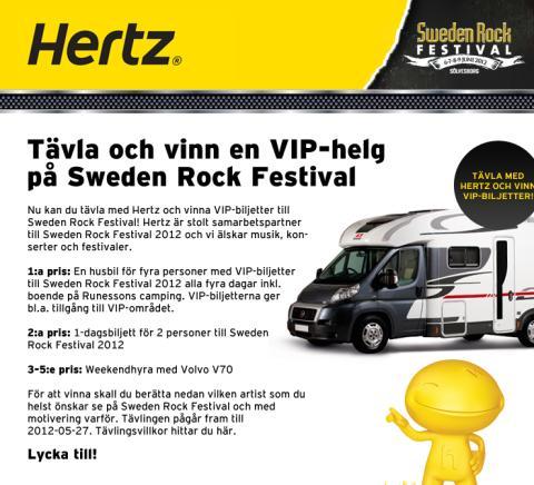 Tävla med Hertz och vinn en VIP-helg på Sweden Rock Festival