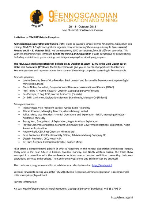 Inbjudan till pressträff på FEM, en av Europas största konferenser om gruvor och prospektering
