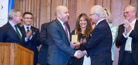 His Majesty Carl XVI Gustaf prize for remarkable entrepreneurial achievements to Mohammed Homman, founder and CEO of Vironova