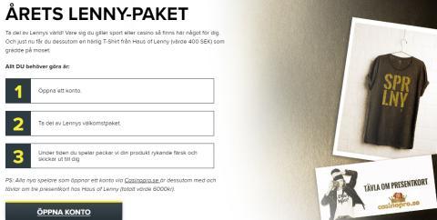 Årets Lenny paket delas ut hos Casinopro.se