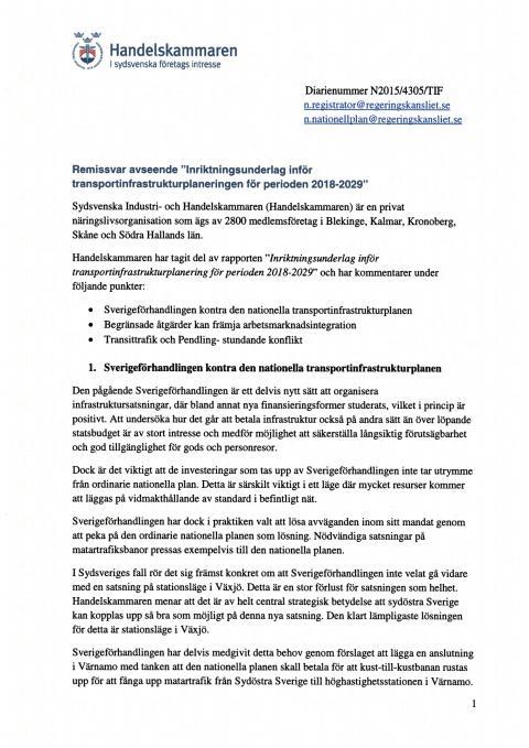 Remissvar Inriktningsunderlag inför transportinfrastrukturplaneringen för perioden 2018-2029