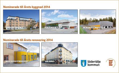 Fem nominerade uppmärksammar byggandet i Södertälje
