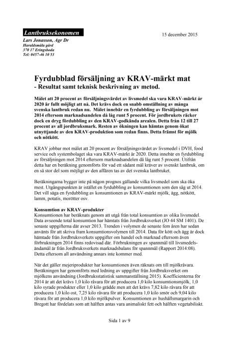 Uträkning: Vad krävs för att KRAV-märkt ska nå en marknadsandel på 20% år 2020?