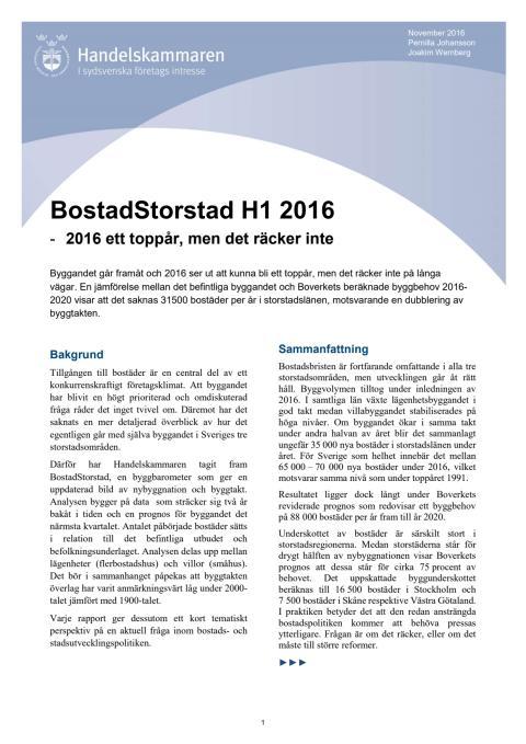 BostadStorstad H1 2016  -  2016 ett toppår, men det räcker inte
