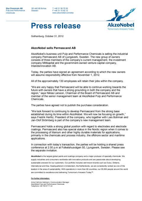 Press release: AkzoNobel sells Permascand AB