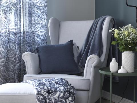 Cushion Stockholm, Blanket Paisley, Blanket Isabelle, Curtain Paisley_2