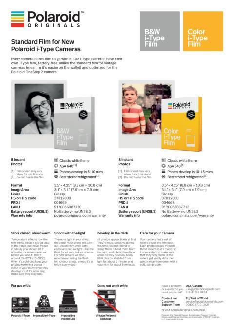 Polaroid Originals, Film data sheet