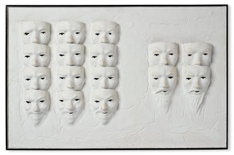 ALBERT JOHANSSON, Bemålat assemblage på pannå, signerad och daterad 1966 a tergo.