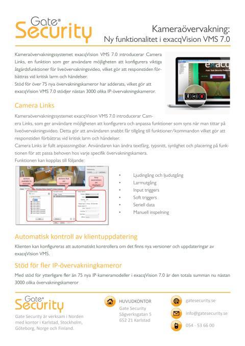 PDF: Kameraövervakning: Ny funktionalitet i exacqVision VMS 7.0