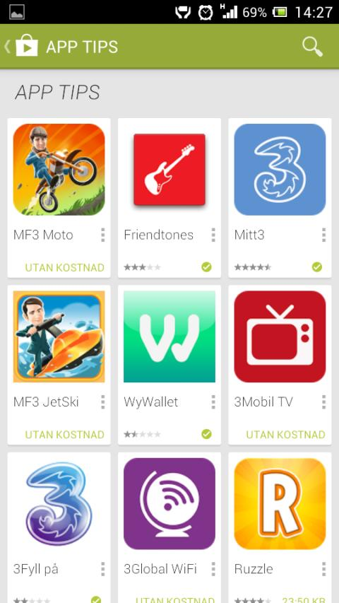 Google Play via fakturan