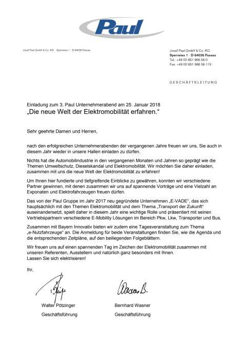 Einladung zum Unternehmertag und Unternehmerabend bei der Paul Nutzfahrzeuge GmbH