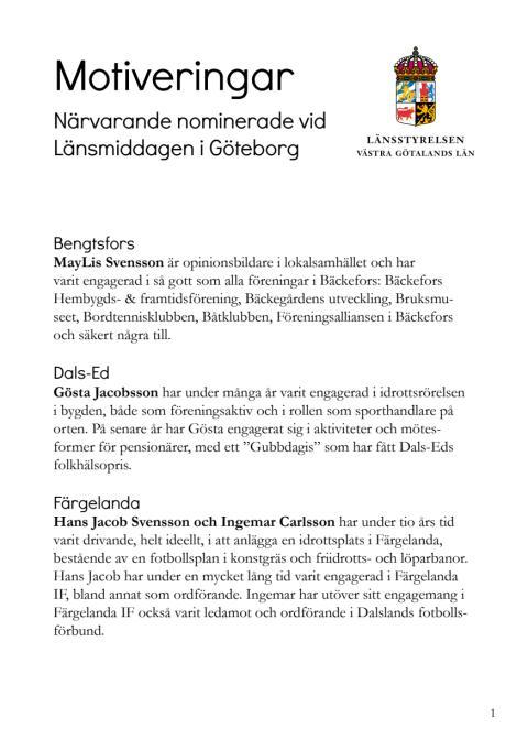 Nominerade till  länsmiddag 5 november och deras motiveringar