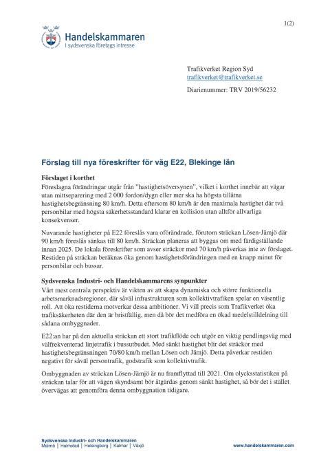 Förslag till nya föreskrifter för väg E22, Blekinge län