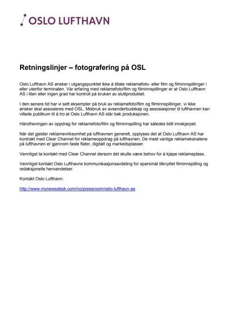 Retningslinjer - reklamefotografering og reklamefilming ved OSL