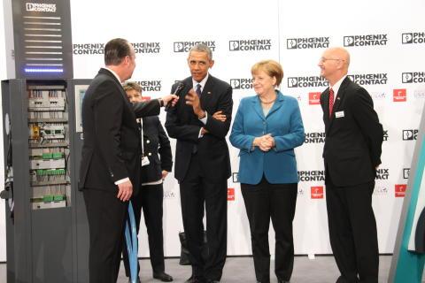 President Barack Obama besøker Phoenix Contact på Hannovermessen