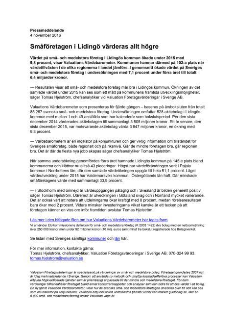 Värdebarometern 2015 Lidingös kommun