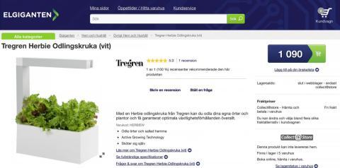 Krydd-växthuset Herbie säljs på Elgiganten