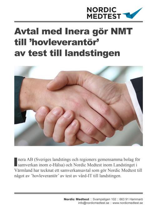Referensblad: Avtal med Inera gör Nordic Medtest till 'hovleverantör' av test till landstingen