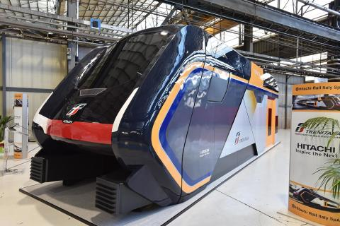 """A 1:1 model of the new """"Rock"""" double-deck regional trains for Trenitalia (formerly Caravaggio)"""