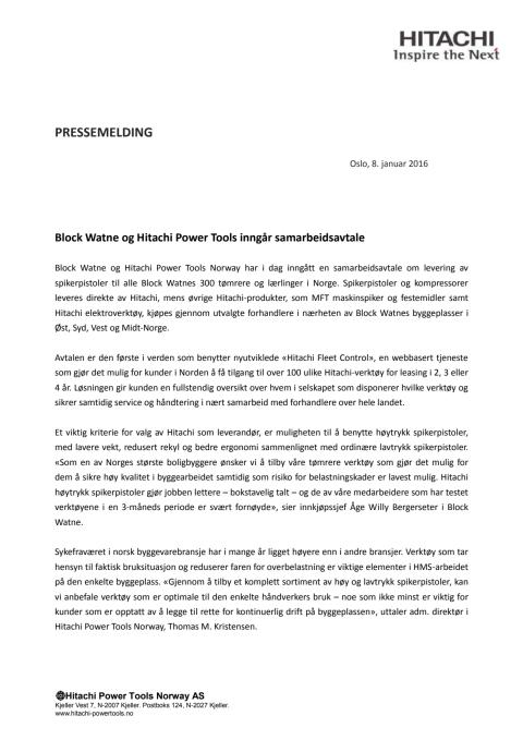 Block Watne - Hitachi Power Tools pressemelding_080116