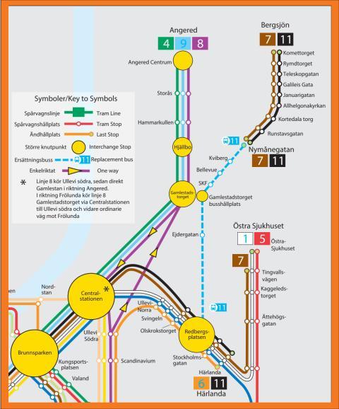 Tillfällig linjenätskarta 12-22 april