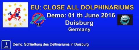 Tierschützer demonstrieren vor dem Zoo Duisburg und fordern von der EU Meerwasser für Delfinarien