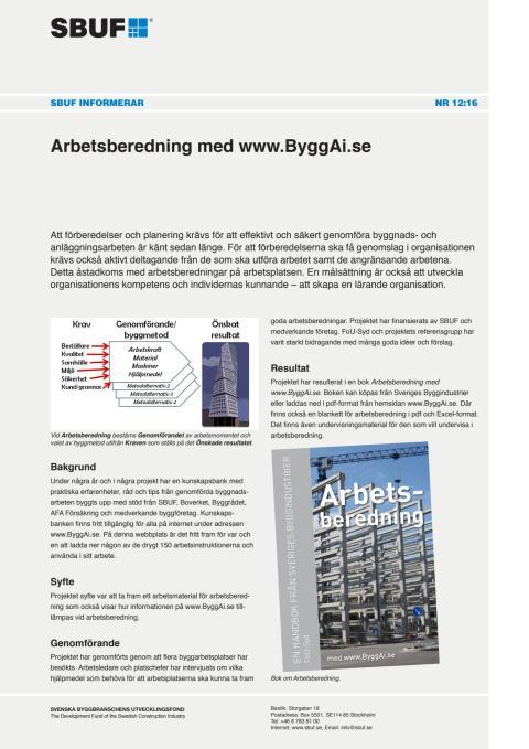 SBUF Informerar, nr. 12-16 Arbetsberedning med www.ByggAi.se