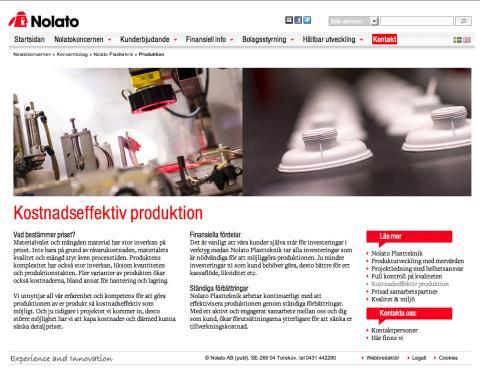 Webbplats Nolato Plastteknik